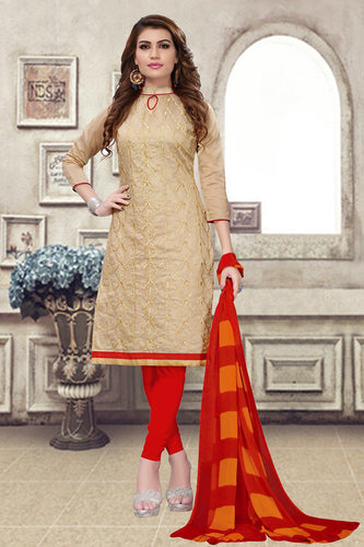 Bhelpuri Beige Chanderi Embroidered Dress Material with Chiffon Dupatta