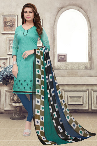 Bhelpuri Green Chanderi Embroidered Dress Material with Chiffon Dupatta