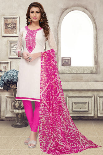 Bhelpuri Off-White Chanderi Embroidered Dress Material with Chiffon Dupatta