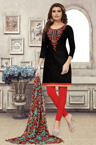 Bhelpuri Black Chanderi Embroidered Dress Material with Chiffon Dupatta
