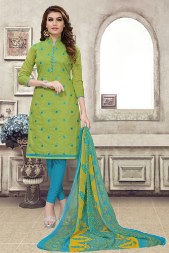 Bhelpuri Light Green Chanderi Embroidered Dress Material with Chiffon Dupatta