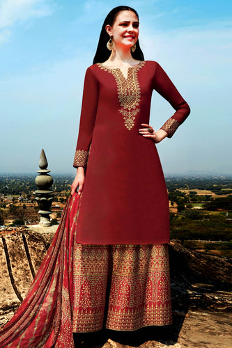 Bhelpuri Maroon Cotton Embroidered Dress Material with Bottom And Chiffon Dupatta