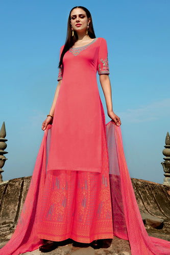Bhelpuri Light Pink Cotton Embroidered Dress Material with Bottom And Chiffon Dupatta