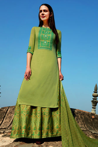 Bhelpuri Light Green Cotton Embroidered Dress Material with Bottom And Chiffon Dupatta