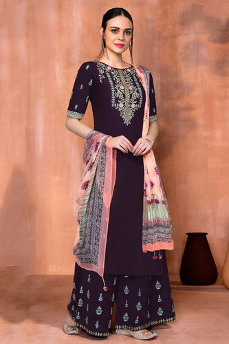 Bhelpuri Magenta Muslin Silk Embroidered Dress Material with Chiffon Dupatta