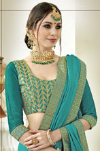 Load image into Gallery viewer, Bhelpuri Aqua Green Georgette Designer Party Wear Saree with Blouse Piece