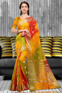 Bhelpuri Multi Colour Raw Silk Woven Saree with Blouse Piece