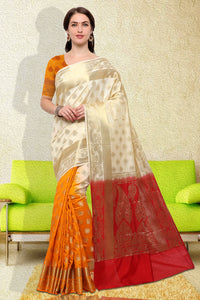 Bhelpuri Cream and Orange Raw Silk Woven Saree with Blouse Piece