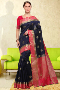 Bhelpuri Navy Blue Raw Silk Woven Saree with Blouse Piece