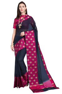 Bhelpuri Navy Blue and Pink Raw Silk Woven Saree with Blouse Piece