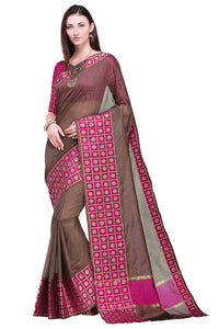 Bhelpuri Brown and Pink Raw Silk Woven Saree with Blouse Piece