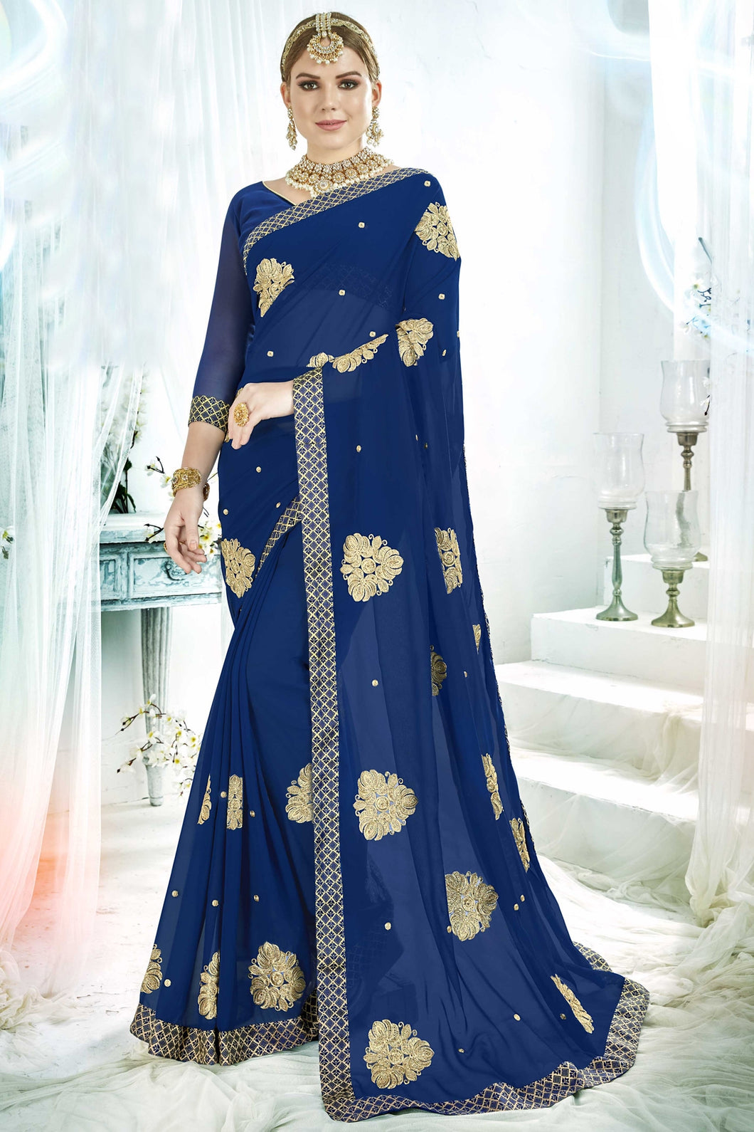 Bhelpuri Blue Fancy Silk Saree