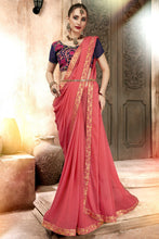 Load image into Gallery viewer, Bhelpuri Peach Georgette Designer Party Wear Saree with Blouse Piece