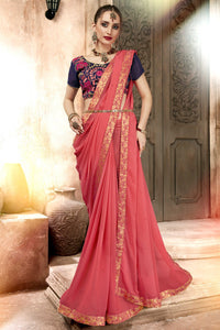 Bhelpuri Peach Georgette Designer Party Wear Saree with Blouse Piece