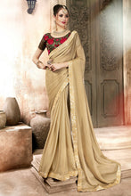 Load image into Gallery viewer, Bhelpuri Beige Georgette Designer Party Wear Saree with Blouse Piece