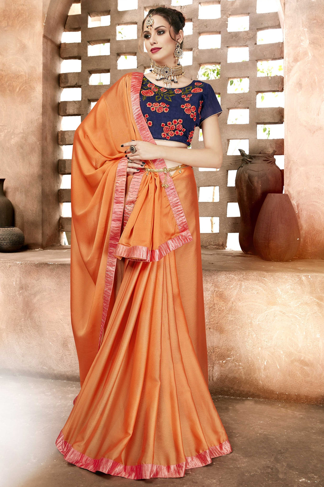 Bhelpuri Orange Chiffon Designer Party Wear Saree with Blouse Piece