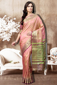 Bhelpuri Baby Pink Silk Woven Saree with Dark Pink Silk Blouse Piece