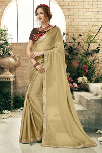 Bhelpuri Gold Georgette Saree with Brown Embroidered Banglori Silk Blouse Piece
