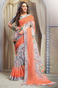 Bhelpuri Peach And Grey Linen Printed Saree with Blue Linen Blouse Piece