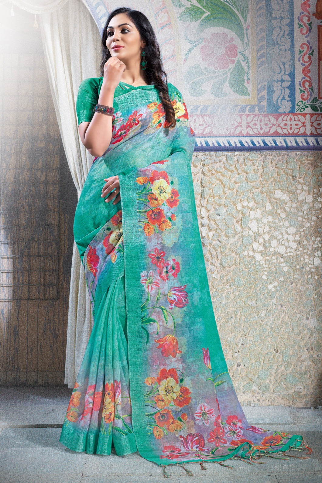 Bhelpuri Green Printed Saree with Blue Linen Blouse Piece