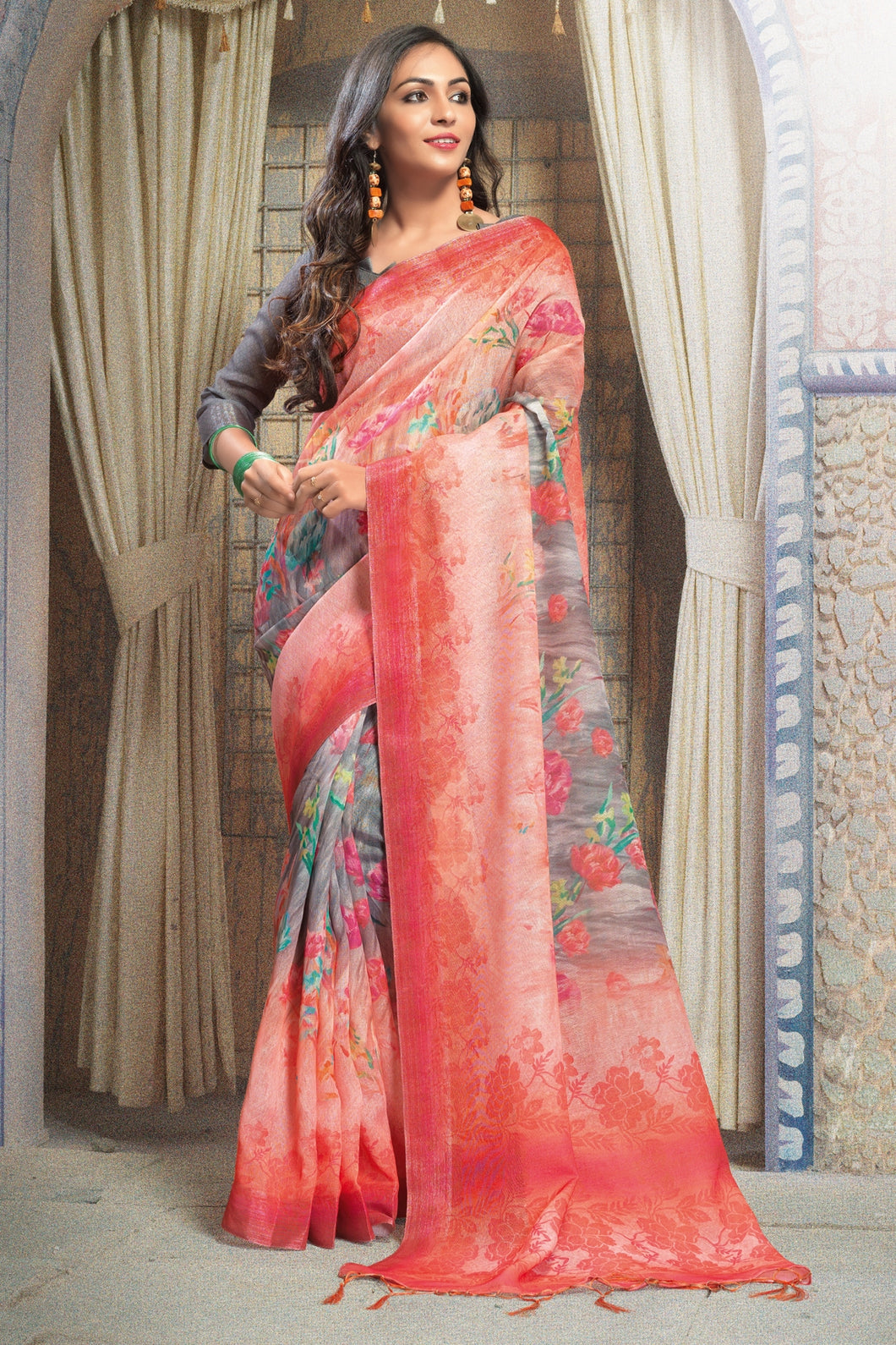 Bhelpuri Multicolour Linen Printed Saree with Dark Pink Linen Blouse Piece