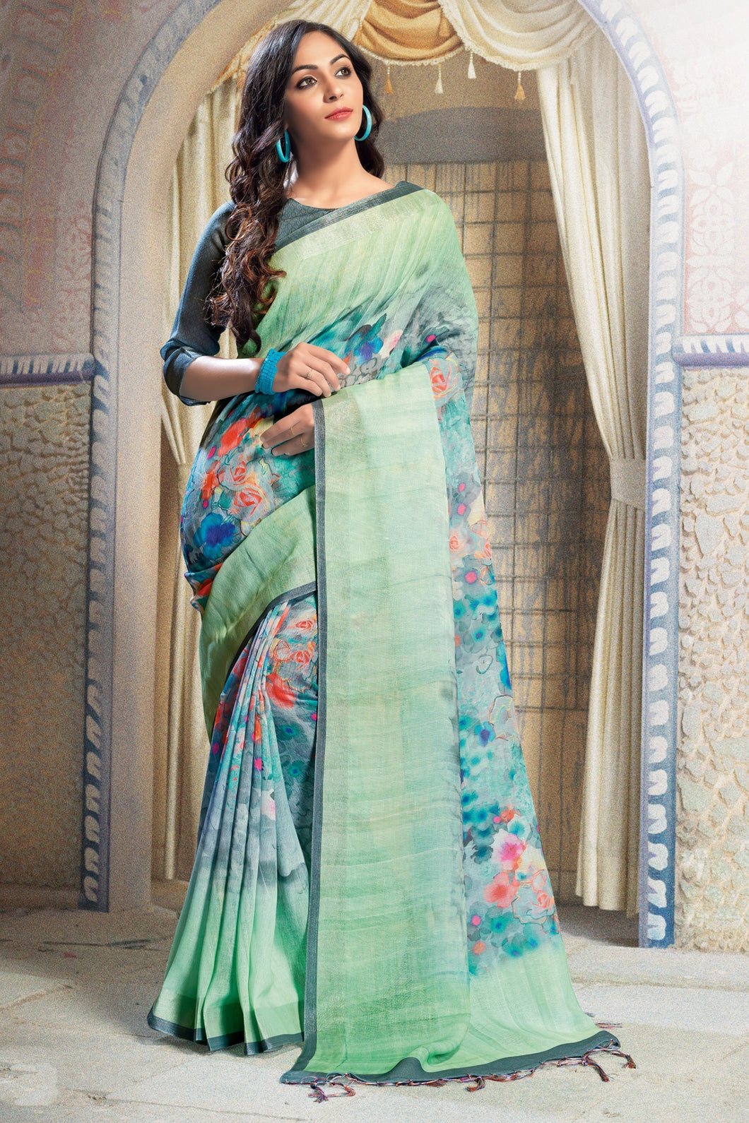 Bhelpuri Multicolour Linen Printed Saree with Green Linen Blouse Piece