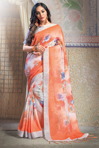 Bhelpuri Orange Linen Printed Saree with Maroon Linen Blouse Piece