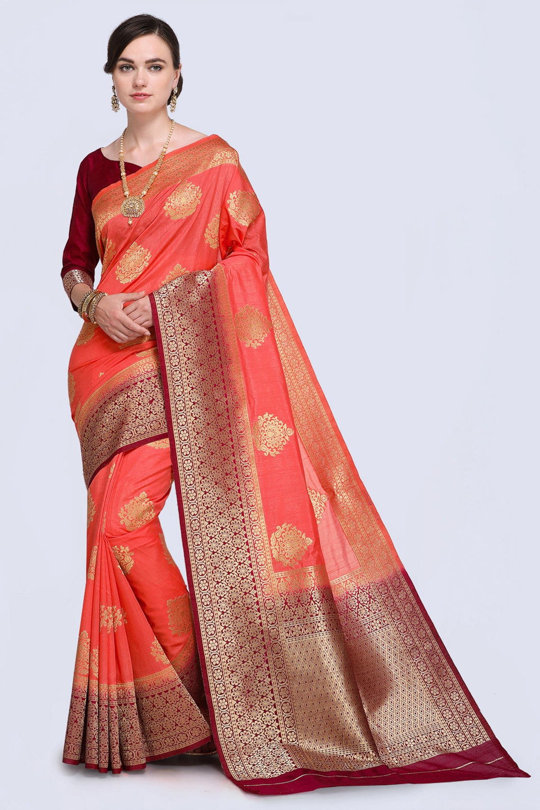 Bhelpuri Peach and Brown Raw Silk Woven Saree with Blouse Piece