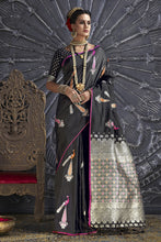 Load image into Gallery viewer, Bhelpuri Black Silk Woven Designer Party Wear Saree with Silk Blouse Piece