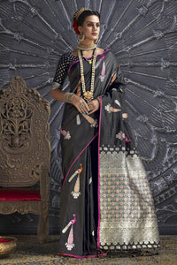 Bhelpuri Black Silk Woven Designer Party Wear Saree with Silk Blouse Piece