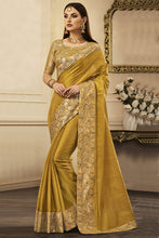Load image into Gallery viewer, Bhelpuri Mehendi Tussar Silk Embroidered Lace Border Saree with Tussar Silk Blouse Piece