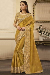 Bhelpuri Mehendi Tussar Silk Embroidered Lace Border Saree with Tussar Silk Blouse Piece