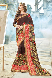 Bhelpuri Brown Georgette Embroidered Saree with Banglori Silk Blouse Piece