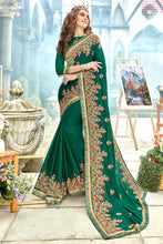 Load image into Gallery viewer, Bhelpuri Green Georgette Embroidered Saree with Banglori Silk Blouse Piece