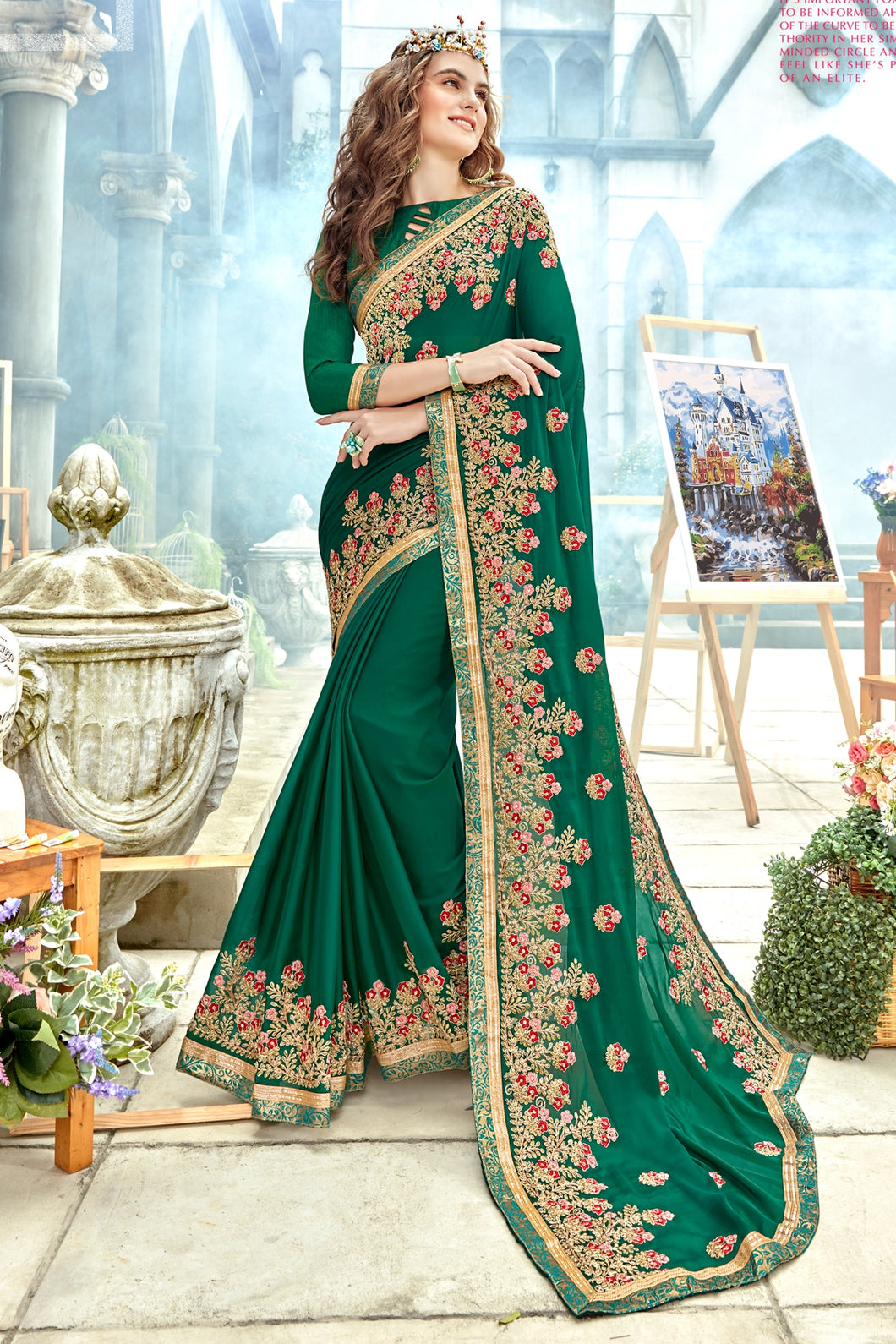 Bhelpuri Green Georgette Embroidered Saree with Banglori Silk Blouse Piece