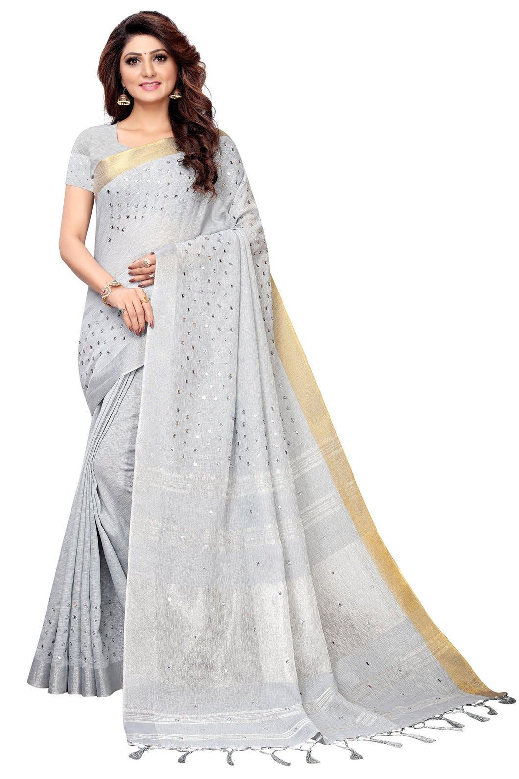 Bhelpuri Light Grey Linen Saree