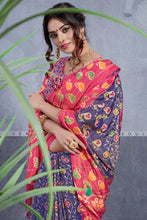 Load image into Gallery viewer, Bhelpuri Light Blue & Pink Dhakai Silk Saree