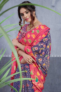Bhelpuri Light Blue & Pink Dhakai Silk Saree
