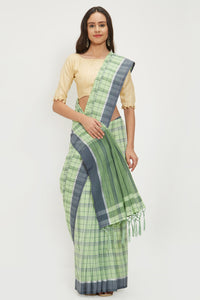 Bhelpuri Green Linen Saree with 2 Blouse Pieces