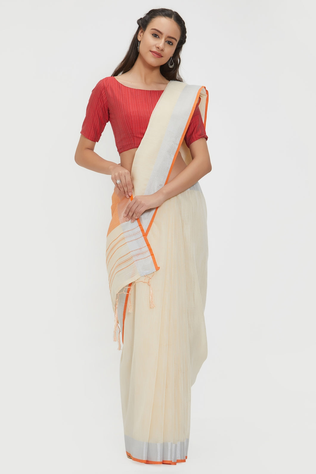 Bhelpuri Cream Linen Saree with 2 Blouse Pieces