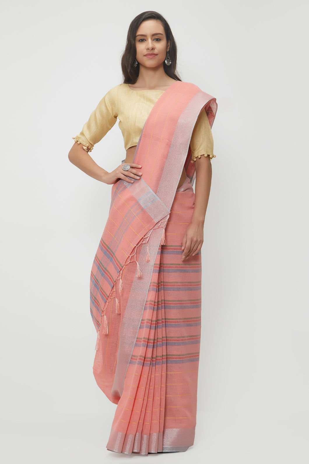 Bhelpuri Peach Linen Saree with 2 Blouse Pieces