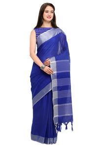 Bhelpuri Blue Linen Silk Woven Saree with Blouse Piece