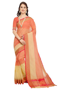 Bhelpuri Peach & Cream Raw Silk Woven Saree with Blouse Piece