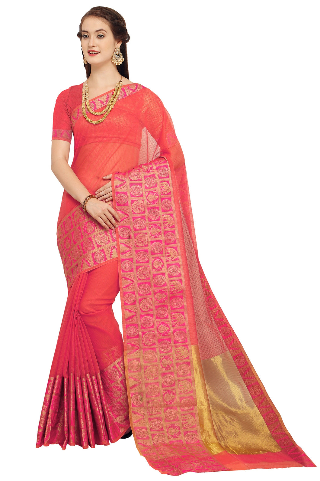 Bhelpuri Orange Raw Silk Woven Saree with Blouse Piece