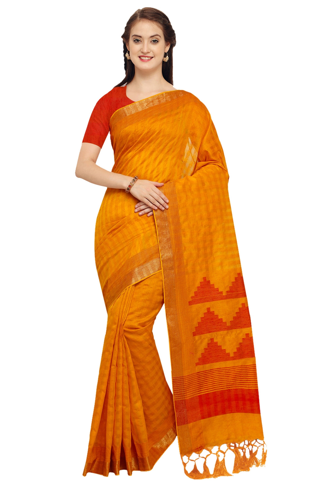 Bhelpuri Mustard Raw Silk Woven Saree with Blouse Piece