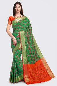 Bhelpuri Green and Red Patola Silk Woven Saree with Blouse Piece