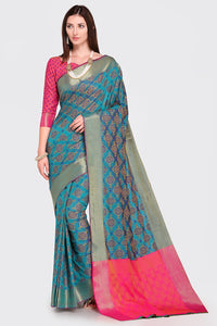 Bhelpuri Blue and Pink Patola Silk Woven Saree with Blouse Piece