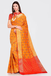 Bhelpuri Mustard and Red Patola Silk Woven Saree with Blouse Piece