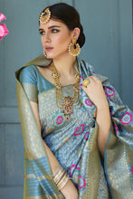Load image into Gallery viewer, Bhelpuri Blue Silk Woven Saree with Blouse Piece