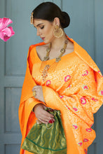 Load image into Gallery viewer, Bhelpuri Yellow Silk Woven Saree with Blouse Piece
